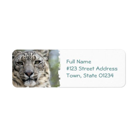 Snow Leopard Return Address Mailing Label
