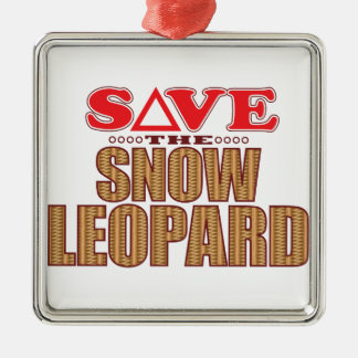 Snow Leopard Save Christmas Ornament
