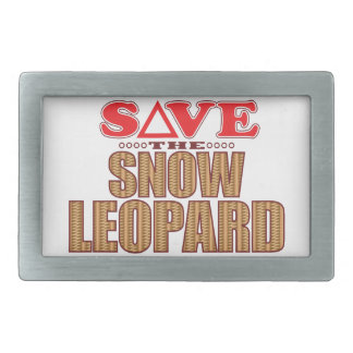 Snow Leopard Save Rectangular Belt Buckle