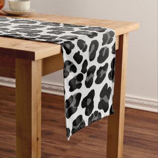Snow leopard short table runner