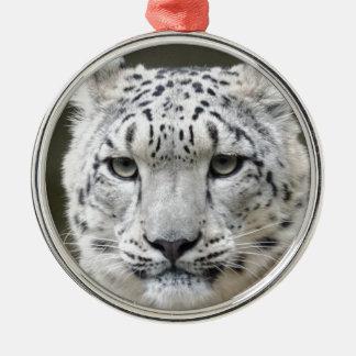Snow Leopard Silver-Colored Round Decoration