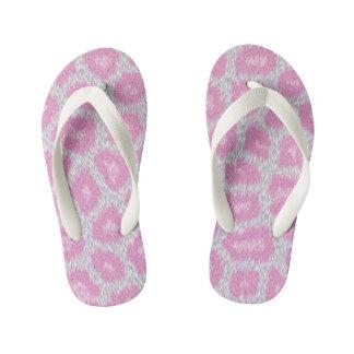 Snow Leopard style - Silver Pink Kid's Flip Flops