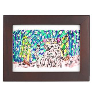 Snow Leopard winter art Keepsake Box