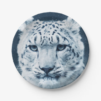 Snow Leopard Winter Snow Wildcat Nature 7 Inch Paper Plate