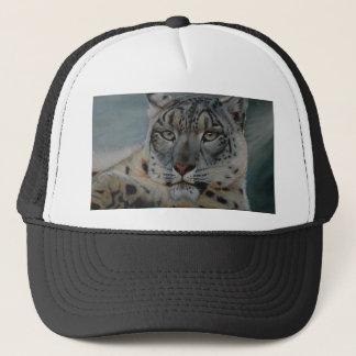 snow leopard winter trucker hat