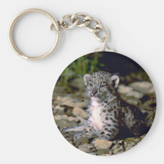 Snow leopard young cub keychain