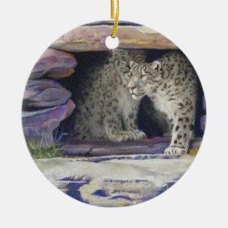 Snow Leopards Christmas Ornament
