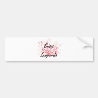 Snow Leopards with flowers background Bumper Sticker