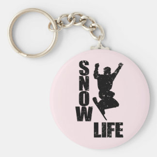 SNOW LIFE #3 (blk) Basic Round Button Key Ring