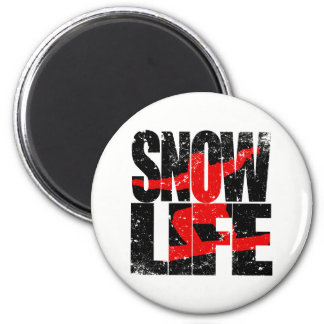 SNOW LIFE red boarder (blk) 6 Cm Round Magnet