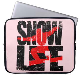 SNOW LIFE red boarder (blk) Laptop Sleeves