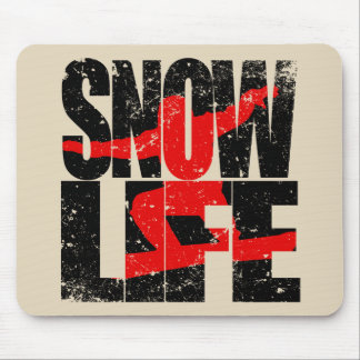 SNOW LIFE red boarder (blk) Mouse Pad