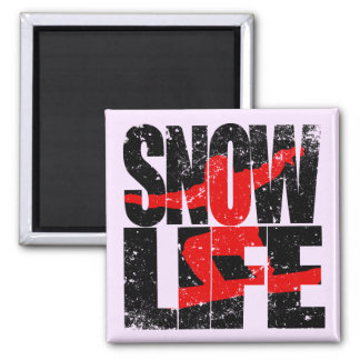 SNOW LIFE red boarder (blk) Square Magnet