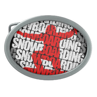 SNOW LIFE red boarder (wht) Oval Belt Buckle