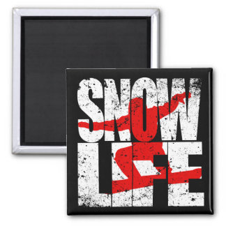 SNOW LIFE red boarder (wht) Square Magnet