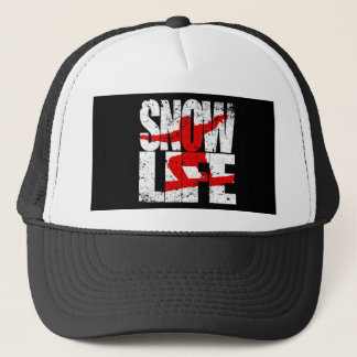 SNOW LIFE red boarder (wht) Trucker Hat