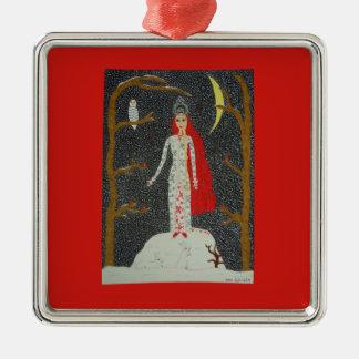 Snow Maiden (Red Version) Ornament -Premium Square