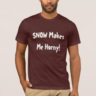 """Snow makes me horny!"" Sledders.com T-shirt"