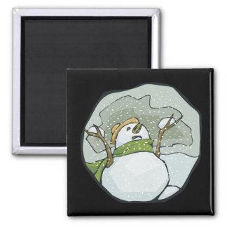 Snow Man 2 Square Magnet
