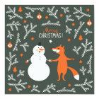Snow Man And Fox Dancing Card