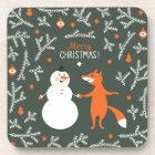 Snow Man And Fox Dancing Coaster