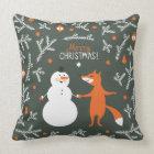 Snow Man And Fox Dancing Cushion