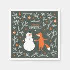 Snow Man And Fox Dancing Paper Napkin