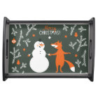 Snow Man And Fox Dancing Serving Tray