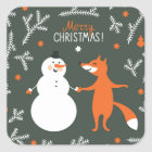 Snow Man And Fox Dancing Square Sticker