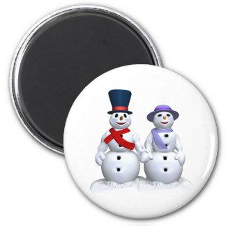 Snow Man And Snow Woman 6 Cm Round Magnet