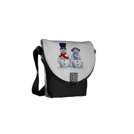 Snow Man And Snow Woman Messenger Bags
