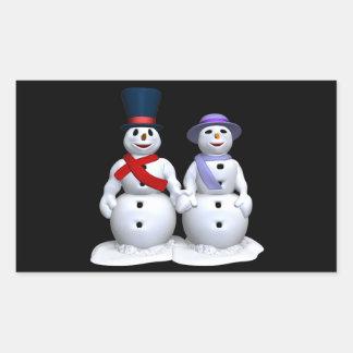 Snow Man And Snow Woman Rectangular Sticker