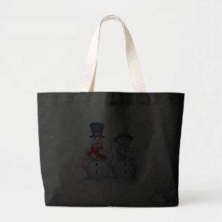 Snow Man And Snow Woman Canvas Bags