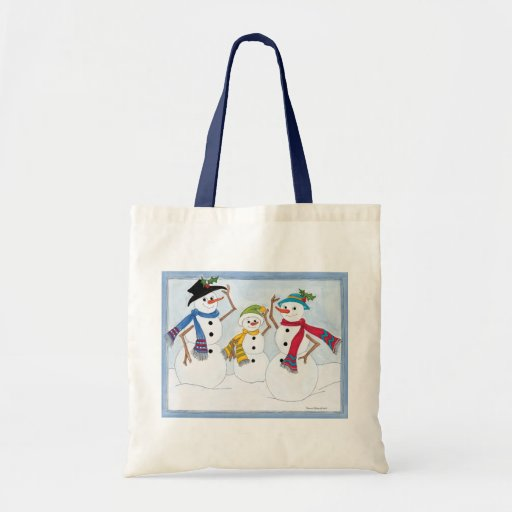 snow man family tote bags