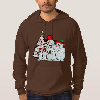 Snow Man Family Fleece Pullover Hoodie