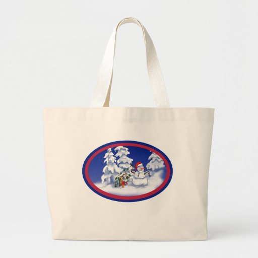Snow man gets a Christmas gift Tote Bags