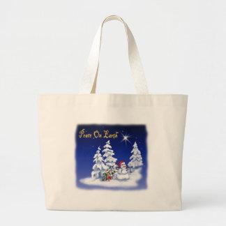 snow man peace on earth bags