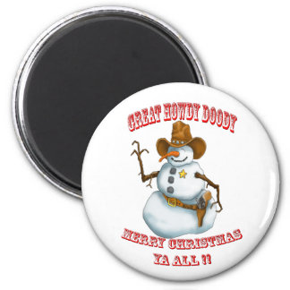 snow man western cowboy sherriff 6 cm round magnet