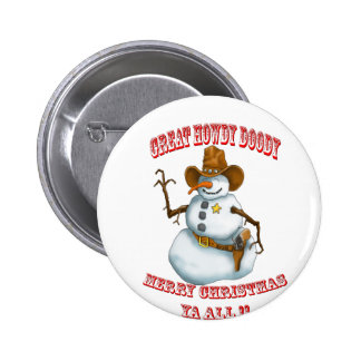 snow man western cowboy sherriff 6 cm round badge