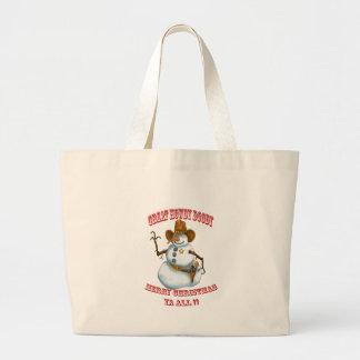 snow man western cowboy sherriff tote bags