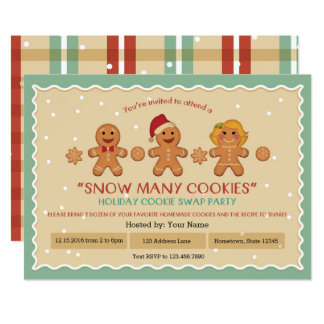 """Snow Many Cookies """"Cookie Swap"""" party invitation"""
