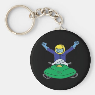 Snow Mobile Champ Basic Round Button Key Ring