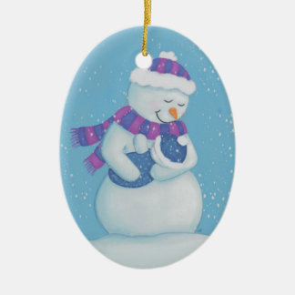 Snow Mom and Snow Baby Boy Christmas Ornament
