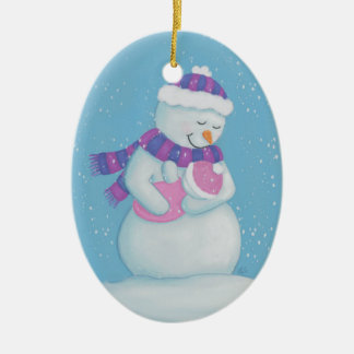 Snow Mom and Snow Baby Girl Christmas Ornament