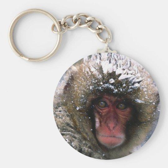 Snow Monkey Basic Round Button Key Ring