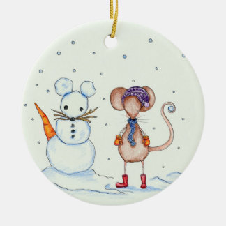 Snow Mouse and Friend Ornament