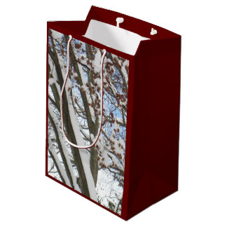 Snow on a Japanese Maple --- Medium Gift Bag