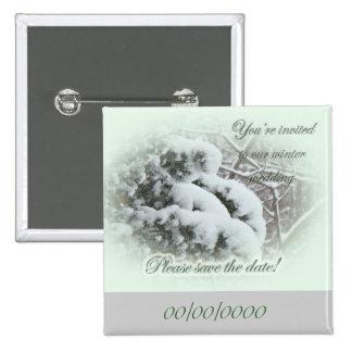 Snow on Arbor Vitae Save the Date Wedding 15 Cm Square Badge