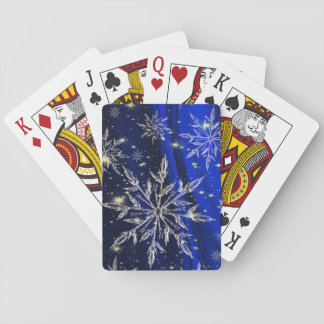Snow on blue background playing cards