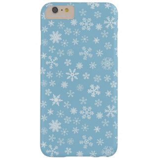 Snow on Light Blue Background Barely There iPhone 6 Plus Case